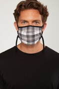 Check pleated mask with drawstring