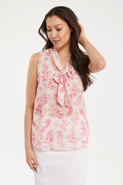 Tied neck printed top