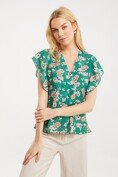 Floral blouse with frill