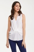 Sleeveless cross front blouse