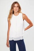 Mixed fabric sleeveless top