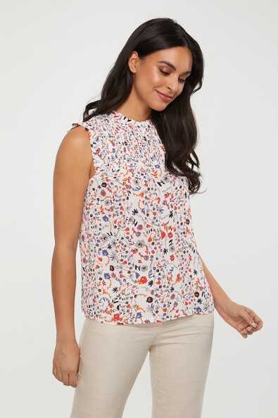Printed top with ruching