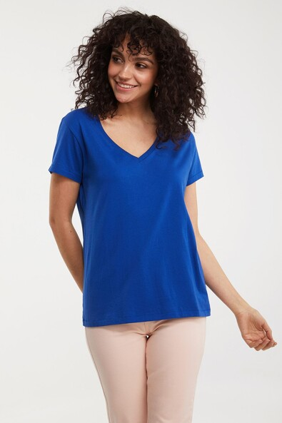 Basic V neck pima cotton t-shirt