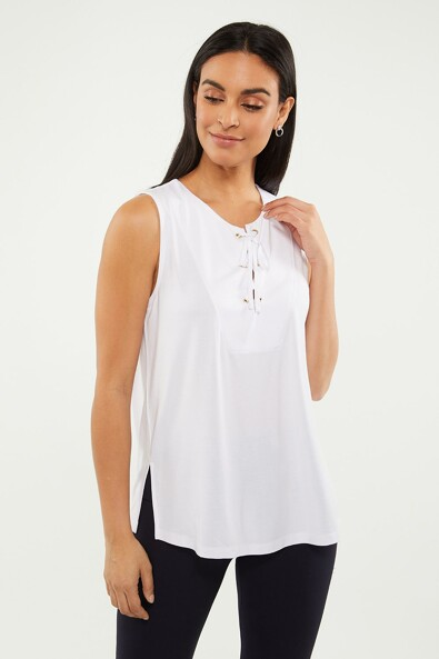 Sleeveless front laced top