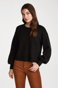 Short boxy sweater with puffy sleeves