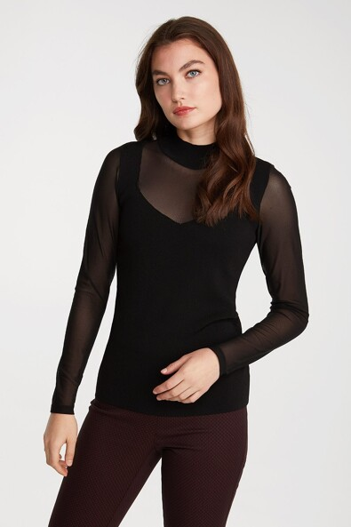 Mock neck top with mesh