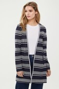 Long striped cardigan with ribbon collar
