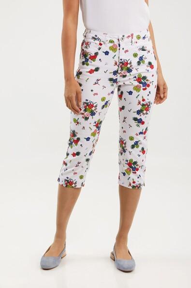 High waist floral printed capri