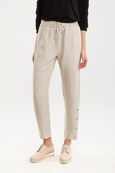 Tencel & linen pant with drawstring