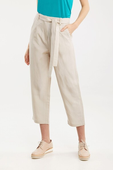 Tencel and linen straight crop pant