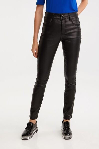 Coated Push up high waist slim pant