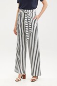 Wide leg striped pant with sash