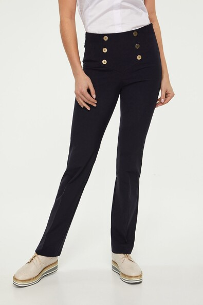 High waist wide leg sailor style pant