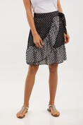 Mixed polka dot wrap skirt with frill
