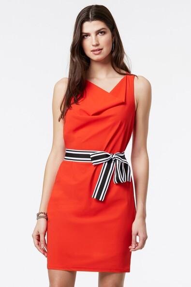 Draped collar dress with striped belt