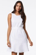 Linen dress with frill and belt
