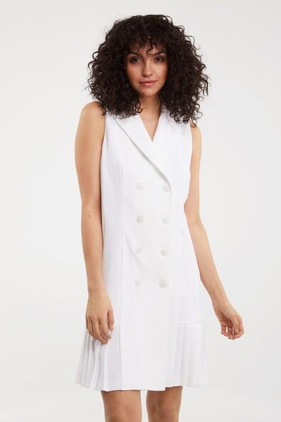Wrap dress with knife pleats