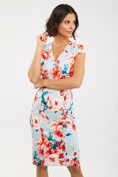 V neck floral dress with cap sleeves
