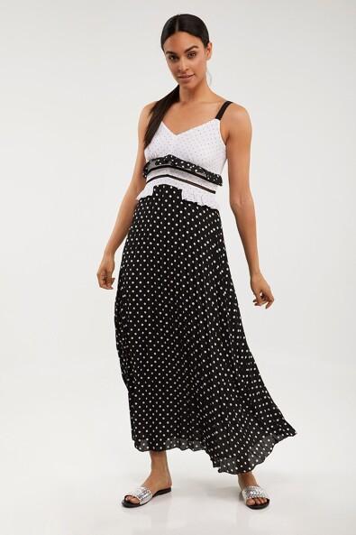 Sun pleated polka dot dress