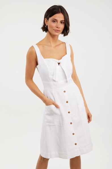 Linen dress with front knot
