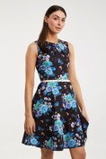 Floral printed dress with belt