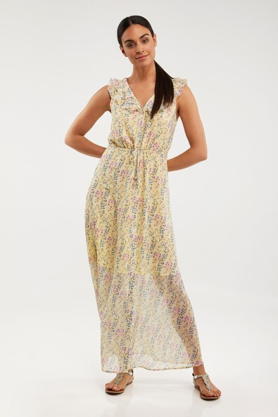 Maxi printed dress with frills