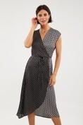 Mixed polka dots wrap dress
