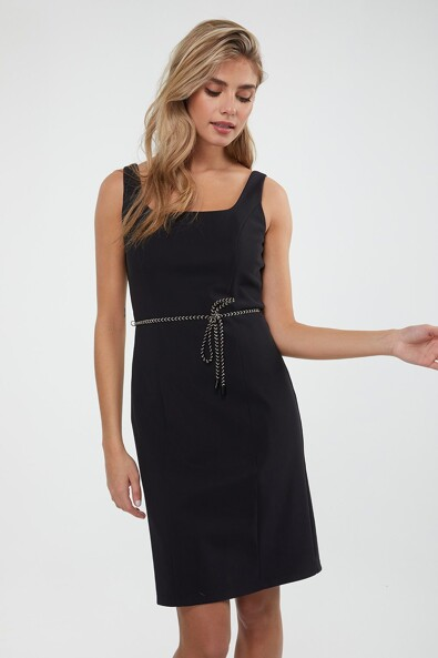 Fitted strap dress with metallic belt