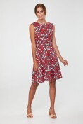 Floral print dress with piping at waist