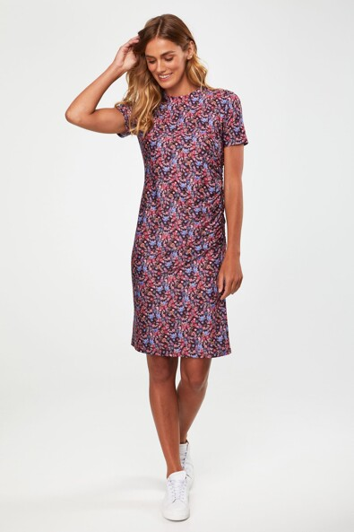 Crew neck printed dress with side gathering