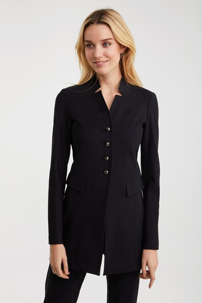 Long blazer with notched collar