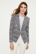 Striped stretch piqué jacket