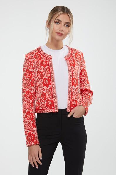 Jacquard jacket with ribbon