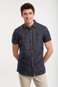 Linen blend textured shirt
