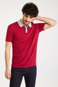 Contrast collar knitted polo