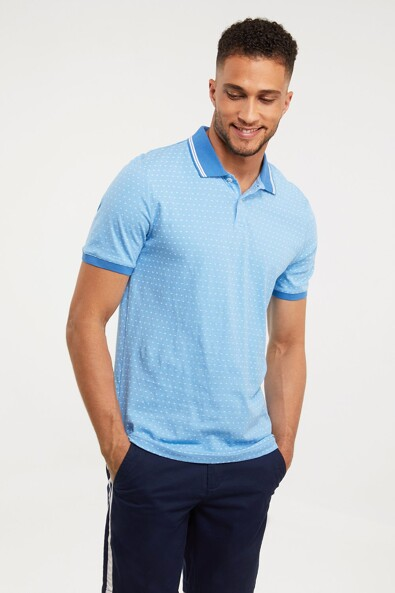 Micro pattern printed polo
