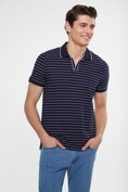 Striped johnny collar t-shirt