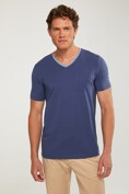 Mixed fabric V neck t-shirt