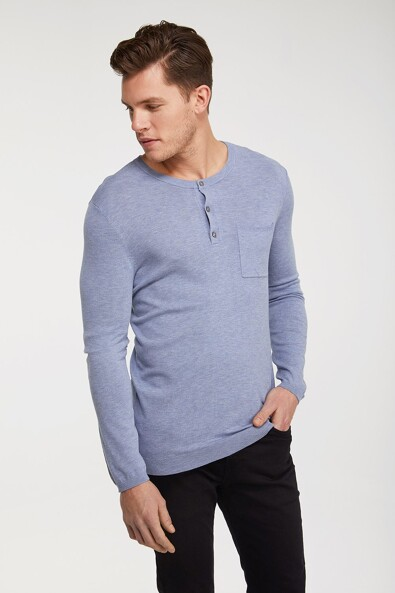 Henley sweater with pocket