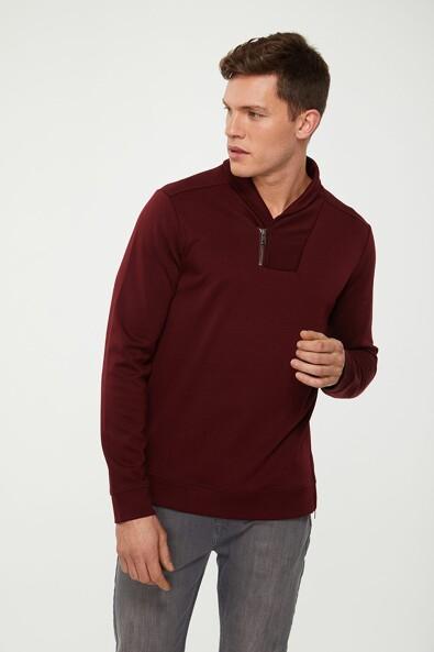 Shawl collar with zip sweater