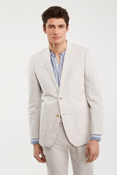 Linen blend Fitted jacket