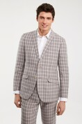 Fitted linen plaid jacket